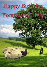 Gregge di pecore cane con buon compleanno carta codice KJ a5 personalizzato Saluti