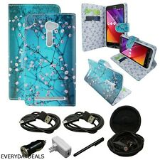 For Asus Zenfone 2E PU Leather Wallet Folio Stand Phone Case Cover Blooming Teal