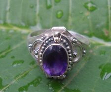 925 Solid Silver Balinese Poison Locket Ring Amethyst Cut Size 9-H67