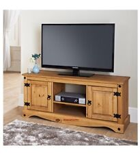 HIGH QUALITY SOLID OAK LARGE TV PLASMA TABLE 2 DOOR CABINET STORAGE UNIT SHELF