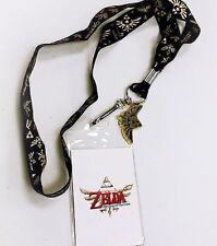 Official ZELDA Gold & Black Hyrule Triforce Lanyard ID Badge Necklace w/ Charm
