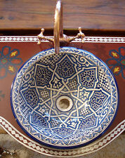 Large Moroccan hand painted blue circular round sink wash basin vasque + crack
