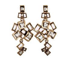 Boucles d`Oreilles Clips Doré Pendant Art Deco Chandelier Metal Original J2
