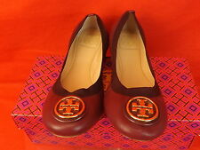 NIB TORY BURCH CAROLINE 2 WINE CABERNET LEATHER GOLD REVA FLATS 7 $225