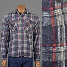 L Vintage 1980s 80s Plaid Flannel Mens Shirt Navy Blue Red Grunge Western Winter