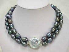 "2 Rows natural 9-10mm tahitian black pearl necklace 17""-18"" LL002"