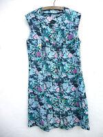 Vintage 1980s/90s Tropical Floral Print Button Through Cotton Midi Dress M/L