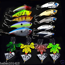 Lot 14pcs Assorted Fishing Lures Minnow Soft Frog Metal Spoon Tackle CrankBaits
