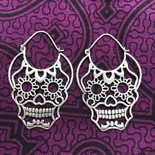 Silver-Plated Day of the Dead Skull Hoop Earrings