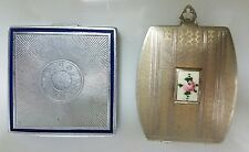 BUY IT NOW TWO VINTAGE(1)BOURJOIS MAKEUP COMPACT ART DECO(1) SILVER/GOLD W/ROSE