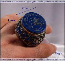 Islam Perse Bague Ancienne Sceau décor Intaille Argent Lapis Lazuli Emaux Bleus