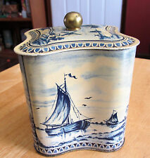 Biscuit Tin Box Metal Canister Delft Sailboat Windmill Lid Brass Knob