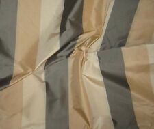 "Silk Taffeta Fabric - Grey Gold & Cream Stripe 54"" by the yard"