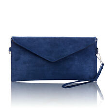 Ladies Italian Designer Soft Faux Leather Suede Envelope Clutch Bag Handbag