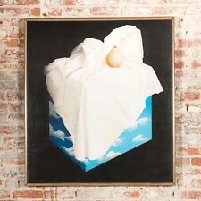 "Rene Magritte School ""Pear on a Cloud Cube"" Surrealism Still Life Oil Painting"