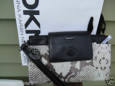 NEW WITH TAG DKNY PYTHON EMBOSSED THREE ENTRIES CLUTCH WRISTLET.100%GENUINE