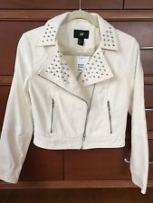 New Ivory Cotton Denim Studded Moto Jacket Sz 6