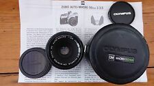 Superb Olympus OM Zuiko 50mm f3.5 Macro Lens, Case & Caps + extension tubes