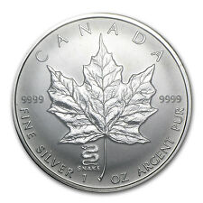 2001 1 oz Silver Canadian Maple Leaf Coin - Lunar Year of the Snake Privy Mark