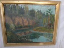 schönes Gemälde eines Bachs im Wald signiert-!