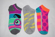 Womens Ankle Socks THREE PAIR LOT Fits 4-10 Shoe Size MOUSTACHE Polka Dot BRIGHT