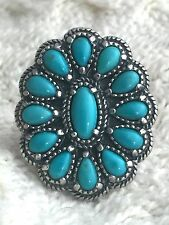 Vintage Sterling Silver Turquoise Ring Tribal Southwest Size 8 Carolyn Pollack