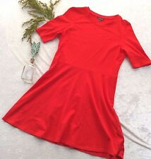 TOPSHOP Womens Size 12 Bright Red Tee Shirt Dress Stretch Cotton Career Casual
