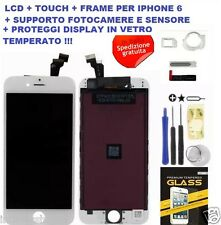 TOUCH SCREEN VETRO SCHERMO + FRAME LCD DISPLAY RETINA PER APPLE IPHONE 6 BIANCO