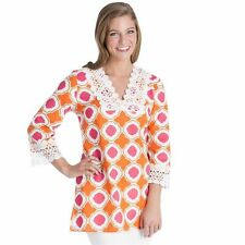 Mud Pie Woman's Bliss Tunic Pink Orange Honeycomb Swimsuit Cover-Up Beach Small