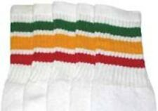 "10"" KIDS WHITE tube socks with GREEN/GOLD/RED stripes style 1 (10-7)"