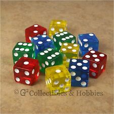 NEW Set 12 Transparent Dice - Red Blue Green Yellow RPG Bunco Game 16mm D6