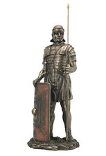 "Roman Soldier with Javelin And Shield Statue Sculpture Figurine 14"" Tall"