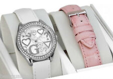 NEW-GUESS WHITE+PINK CROC LEATHER INTERCHANGABLE BAND+SILVER WATCH SET W95139L1