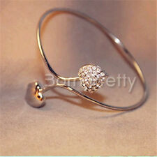 1pc Women Girl Double Heart Designed Open Ring Rhinestone Ring Jewelry