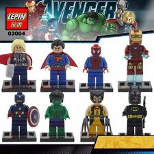 8 X MINI FIGURES FIT LEGO UK TOY SELLER DC MARVEL CAPTAIN AMERICA WOLVERINE HULK