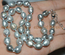 Natural 9-10mm baroque Silvery white freshwater pearl necklace 18""