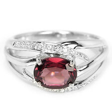 Natural púrpura rosado Rodolita & White CZ Anillo de plata esterlina 925 8.25