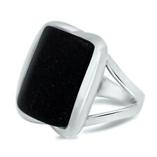 Bold Statement Blue Goldstone Natural Big Stone in 925 Sterling Silver Ring 7