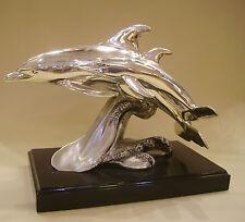 Coppia Delfini Statua in Resina Argentata Satinata/Lucida Con Base Legno DEAR