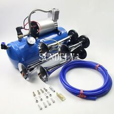 12v Quad Train Air Horn /Hose 150db Loud 6 liters Compressor 150 PSI Kit