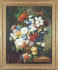 Thomas Webster Large Huge Antique Fine Still Life Oil Painting Flowers 1 of Pair