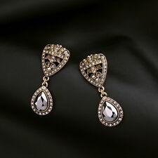 Crystal Pave Black Faceted Teardrop Earrings Women Fashion Earring Jewelry
