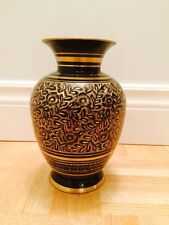 Hand Etched Decorative flower Brass Vase (Height = 9 inches)