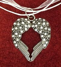 VICTORIAN 3 RIBBONS CHOKER NECKLACE SILVER CRYSTAL ANGEL WINGS HEART PENDANT NEW