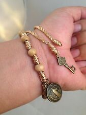 Saint Benedict Wood Beads & Cord ROSARY Bracelet with key to heaven pendant