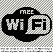 "FREE WIFI Store Front Vinyl Decal Sticker 3.25""X4.5"" Wireless Internet #0080"