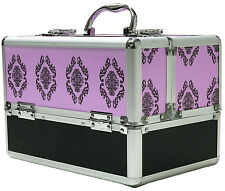 Large Purple Aluminium Beauty Damask Cosmetic Box Nail Make Up Vanity Salon Case