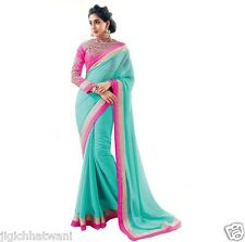 INDIAN ETHNIC BOLLYWOOD FIROZI DESGINER BLOUSE WITH EXCLUSIVE BORDER SAREE SARI