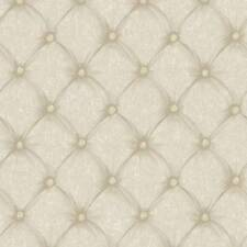 Wallpaper Designer Beige and Taupe Faux Tufted Fabric Look