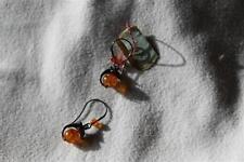 boucles d'oreille en ambre de la baltique et argent dauphin sur 1 perle ronde